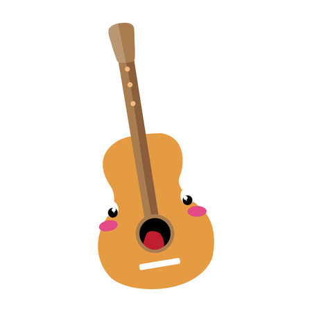 Classic acoustic guitar flat cartoon character style