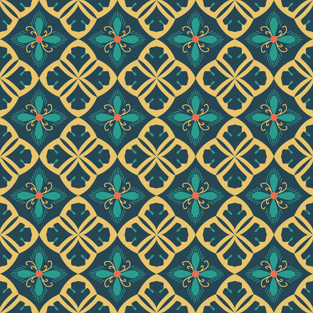 Pattern with royal symbols upside down. Seamless vector background. Floral ornament. Abstract Tiles. Geometric texture. Repeating background.