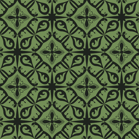 Black and green royal pattern. The Seamless vector background Reklamní fotografie