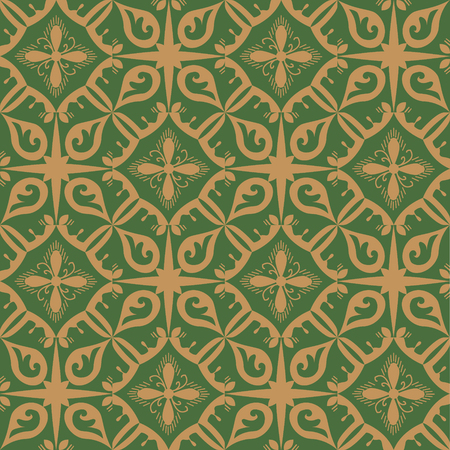 Green and beige royal pattern. The Seamless vector background Reklamní fotografie