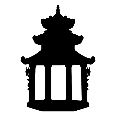 Ancient buddhist temple in Vietnam. Black vector silhouette. Ilustrace