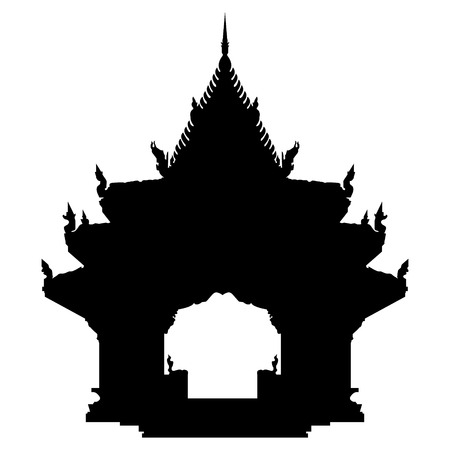 Ancient buddhist temple in Thailand, Koh Samui. Black vector silhouette illustration. Illustration