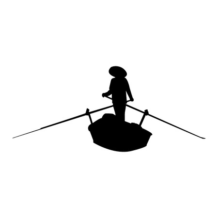 Silhouette of rowing asian person on the boat. Vector illustration. Ilustrace