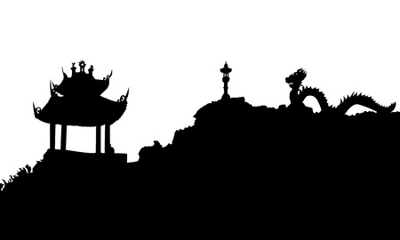 Ancient buddhist temple and dragon statue in Vietnam. Black Vector silhouette illustration.