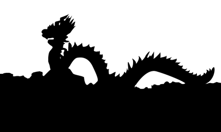 Chinese Style Dragon Statue. Black Vector Silhouette Illustration