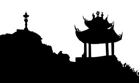 Ancient buddhist temple in Vietnam. Black vector silhouette. Illustration