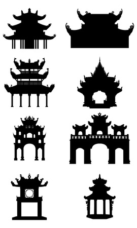 Set of Ancient buddhist temples.. Black vector silhouettes