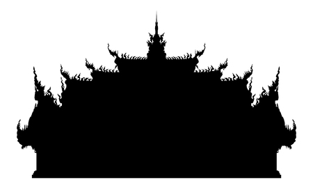 Ancient buddhist temple in Thailand. Black vector silhouette illustration.