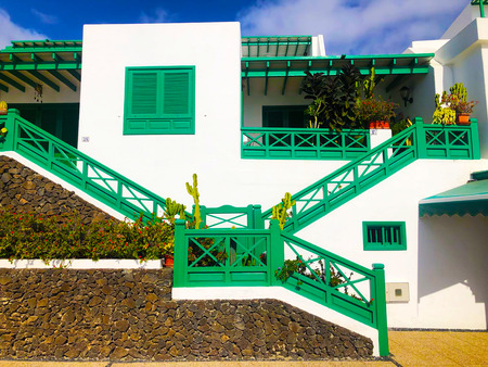 Typical white house of Lanzarote. Regional house captured during a sunny day. The Canary Islands.