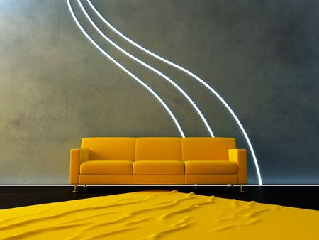 yellow couch and neon wave Stockfoto
