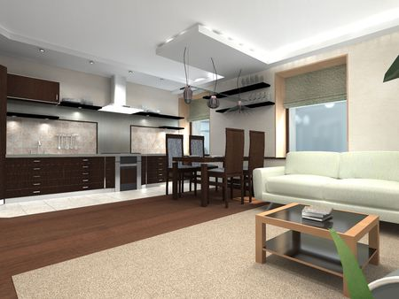 contemporary living room: kitchen and living room