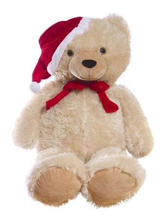 Sitting teddy bear wearing a santa hat, isolated.