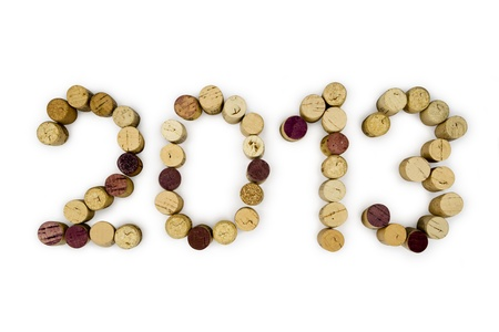 2013 written in cork letters on a white background Stock Photo