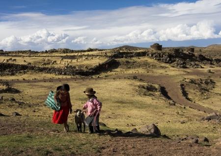 Peruvian children with a sheep in prehistoric ruins in Sillustani near Puno, Titicaca lake area Stock Photo - 16768872