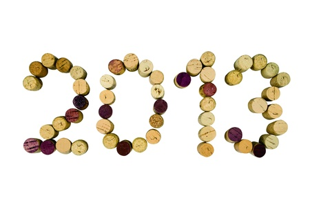 2013 written in cork letters on a white background with clipping path