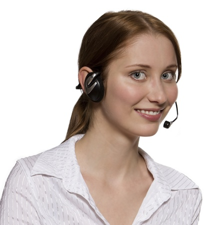 Call center operator with headset, isolated on white background