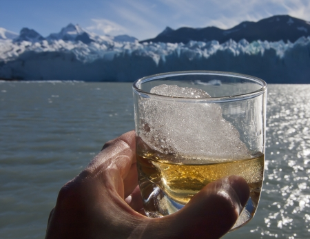 Whiskey glass with ice from glacier