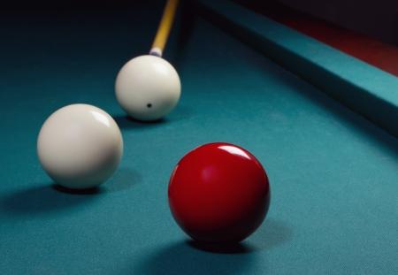Carom billiards straight single shot Stock Photo