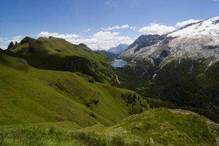 European alps, Italian Dolomites Panorama, Mt Marmolada during a bright blue summer day. Stock Photo