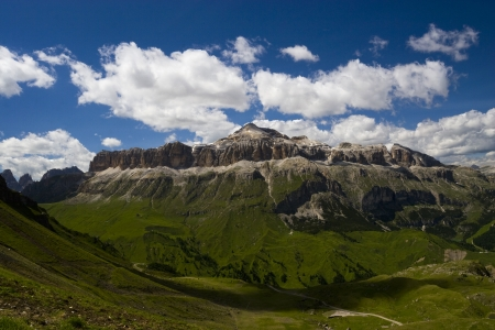 fassa: European alps, Italian Dolomites Panorama, Piz Boe during a bright blue summer day.