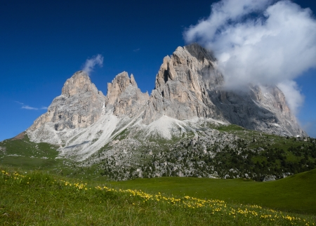 European alps, Italian Dolomites Panorama during a bright blue summer day. Stock Photo - 18120018
