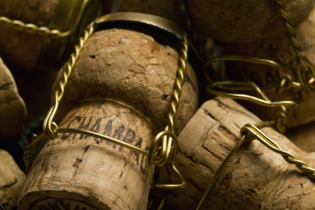 Close-up of group of Champagne corks Stock Photo
