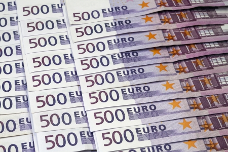 euromoney: Big amount of Five hundred notes of European Union Currency