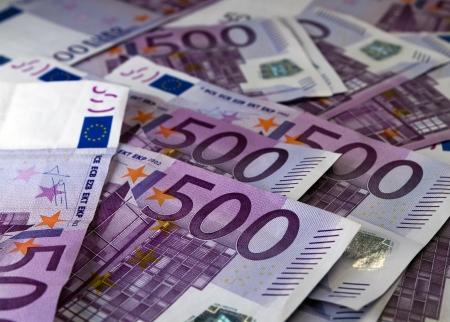banconote euro: Grande quantità di cinquecento note di Valuta dell'Unione Europea
