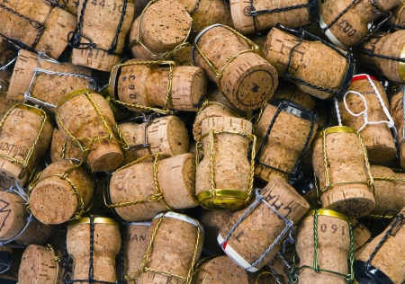 brown cork: Close-up of group of Champagne corks Editorial