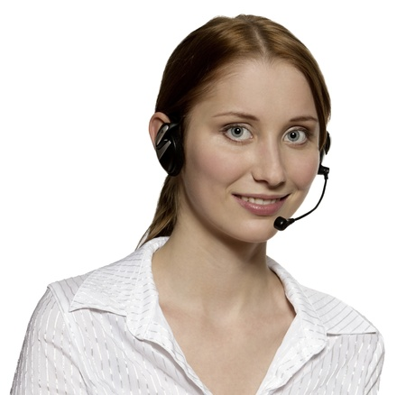 Call center operator with headset against white background with clipping path