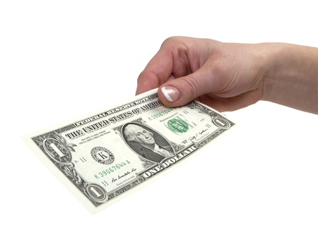 1 dollar banknote in womans hand with clipping path