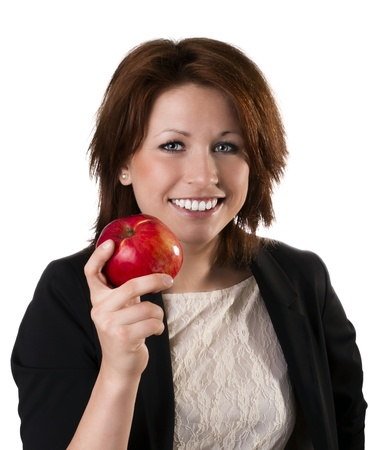 Beautiful young woman holding apple, isolated on white