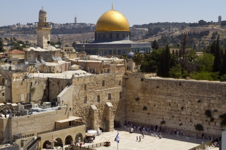 Old City Of Jerusalem at the Wailing Wall and Dome of the Rock, Israel Editorial