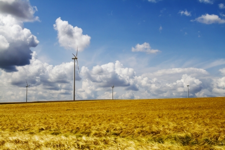 Wind turbines farm in a bright summer day Stock Photo - 21645521