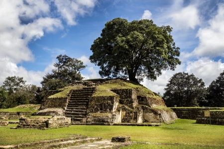 Iximche ruins in Guatemala, rests of the Maya Stock Photo