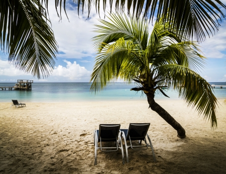 Tropical paradise on the island of Roatan, Honduras Stock Photo