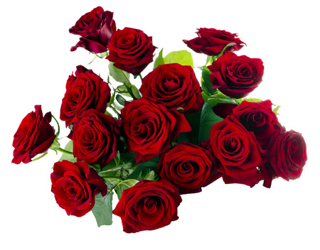Red Roses Bouquet, isolated on white