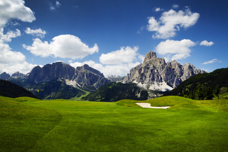 Beautiful golf course in the mountains with spectacular views Stock Photo