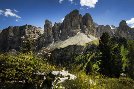 European alps, Italian Dolomites Panorama during a bright blue summer day Stock Photo
