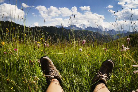 Relax in a flowering mountain meadow with beautiful views Stock Photo