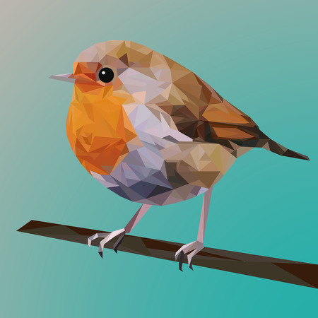 Red robin bird from geometric polygonal shapes, triangles, colorful illustration, bird on branch Illustration