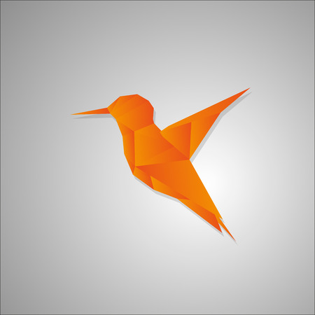 discrete: Polygonal hummington bird vector illustration from triangles, logo