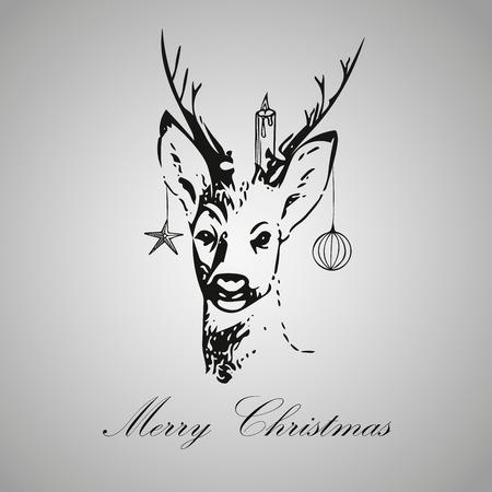 decent: Christmas vintage deer decoration, christmas decent invitation card, editable vector illustration isolated eps 10