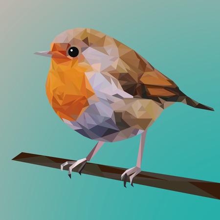 Veelhoekige vogel, lijntekeningen, rode robin, driehoeken
