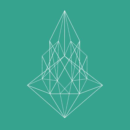 Geometric polygonal shape, line art, line design, lines, tattoo Ilustração