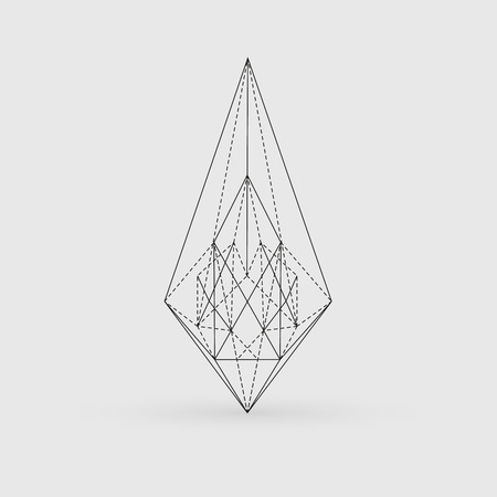 Geometric shape, polygonal, triangles, line art, line design, lines, tattoo Illustration