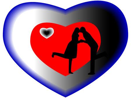 enamorados besandose: Los amantes se besan en la silueta azul de corazón
