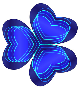 three wishes: Blue shamrock with cyan lines and four neon hearts inside Illustration