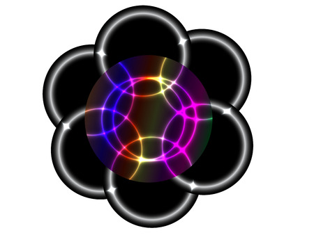 three wishes: Six circles with neon effect inside rainbow like