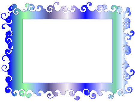 bluegreen: Decorative frame in soft tones blue-green Illustration